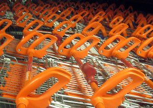 Trolleys in the supermarket