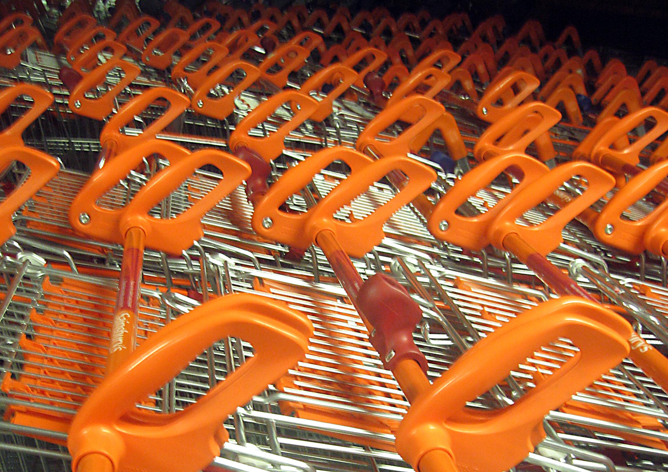 Trolleys in the supermarket