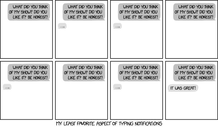 Comic van XKCD over typnotificaties
