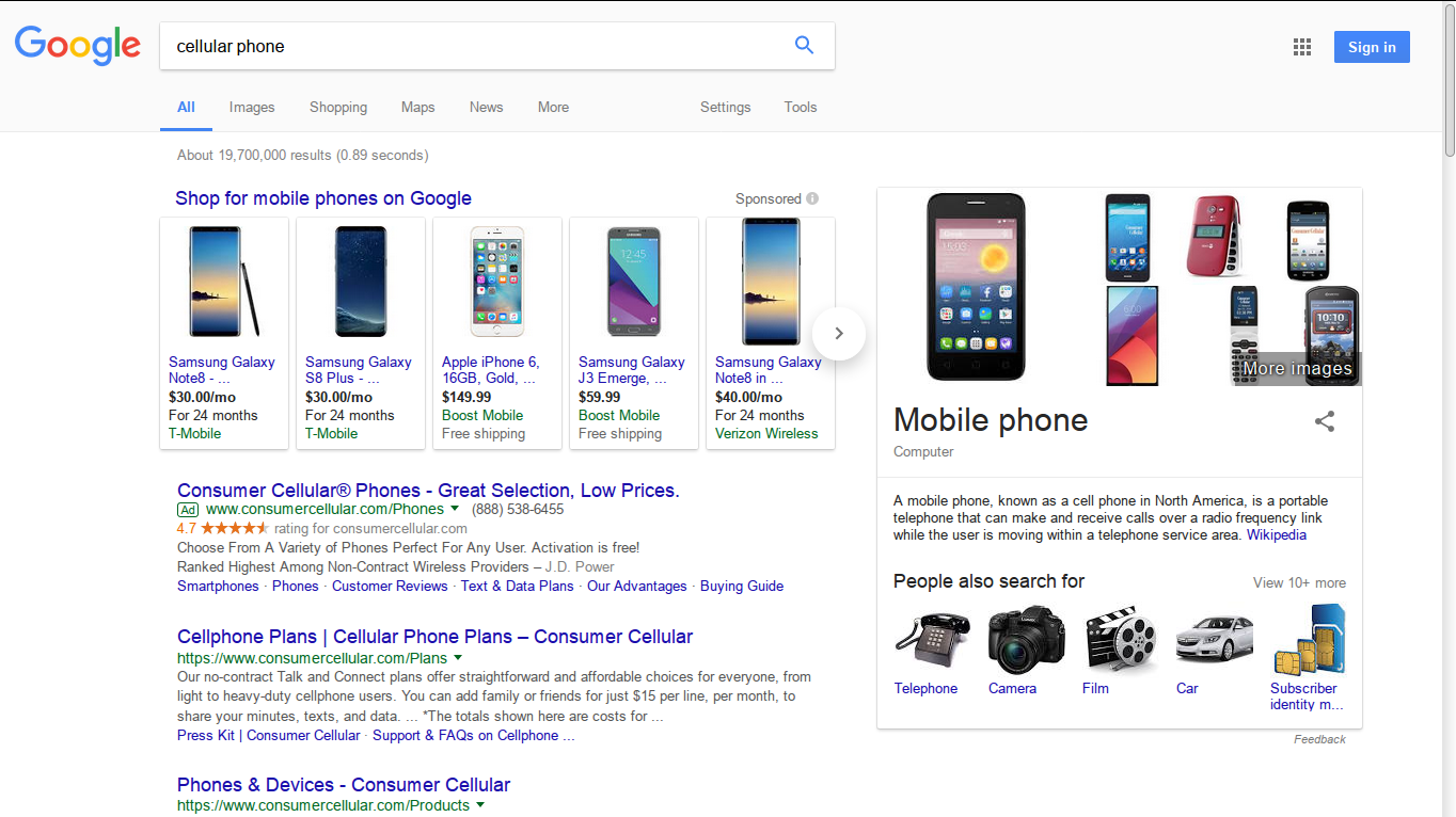 "Google search results for ""cellular phone"""