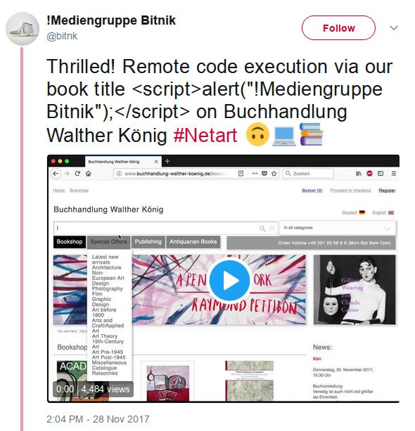Screenshot van een tweet van Bitnik over hun boek