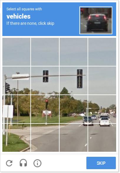 Schermafbeelding van een reCAPTCHA