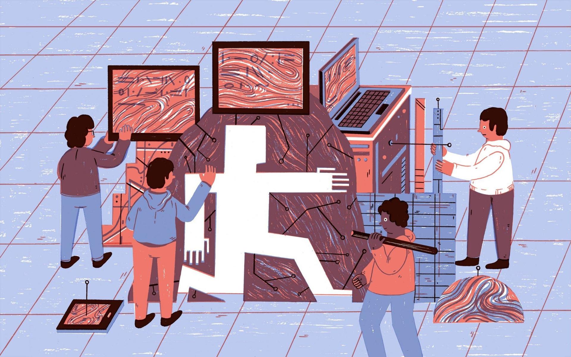 Vier mensen rondom een set computers