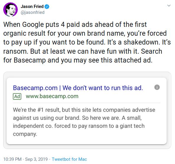 Jason Fried die een screenhost van een Google Advertentie deelt op Twitter: