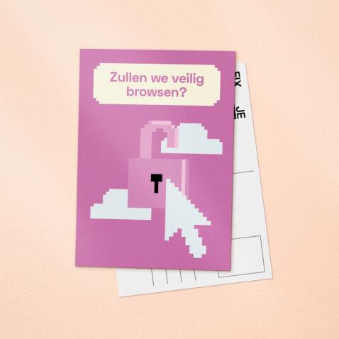 Een roze Fix Je Privacy ansichtkaart