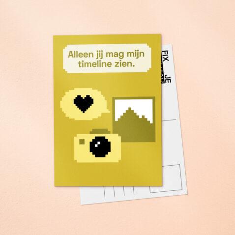 Een gele Fix Je Privacy ansichtkaart