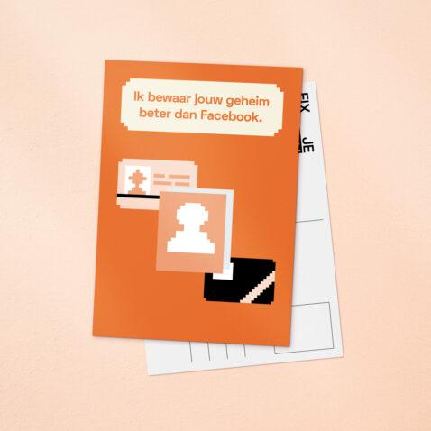 Een oranje Fix Je Privacy ansichtkaart