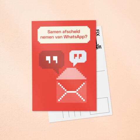 Een rode Fix Je Privacy ansichtkaart