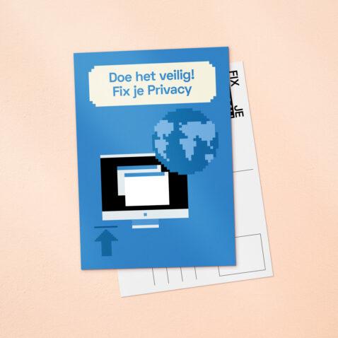 Een blauwe Fix Je Privacy ansichtkaart