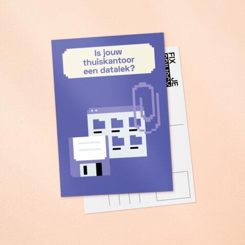 Een paarse Fix Je Privacy ansichtkaart