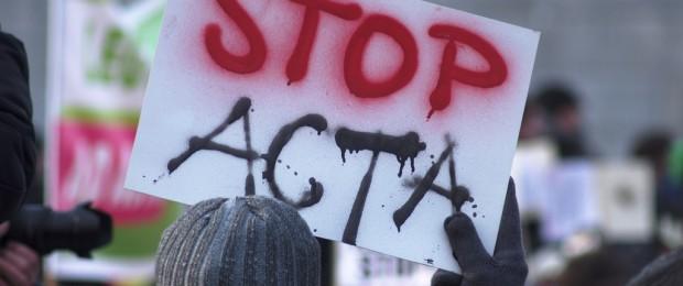 Afbeelding gebaseerd op ACTA Demonstration 11. Februar 2012 in Wien van Wolfgang Illmeyer (licentie: CC BY-NC 2.0)