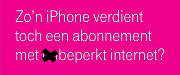 Advertentie van T-Mobile, aangepast door Bits of Freedom
