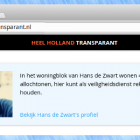 Schermafdruk van de 'Heel Holland Transparant' website.