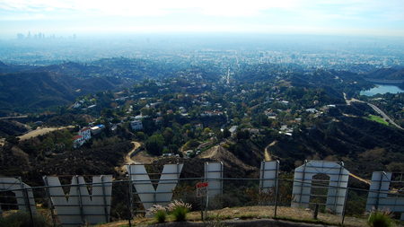 The Hollywood sign from one of the trails